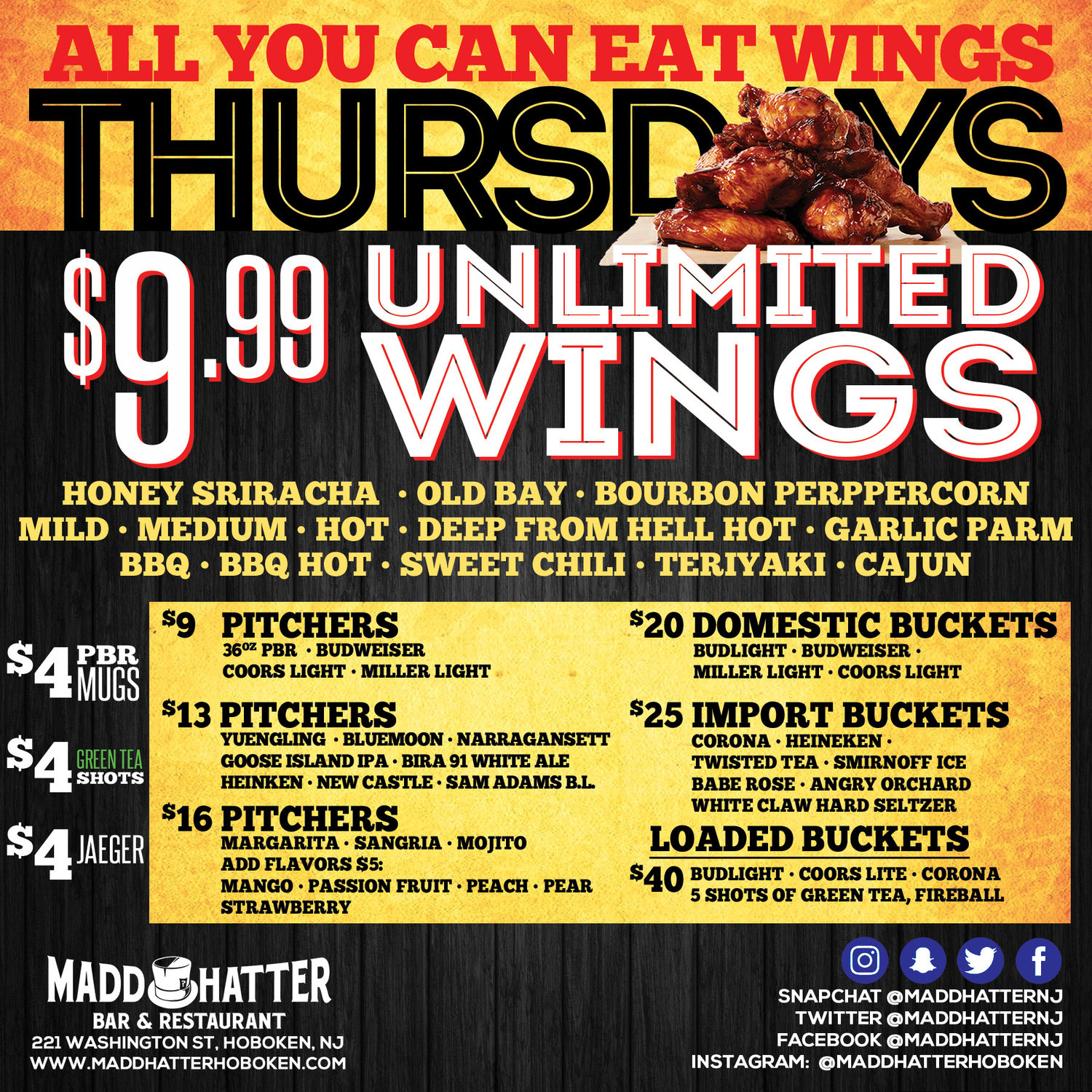 bar specials, unlimited wings, fried chicken